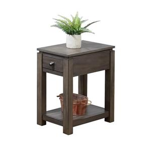 Sunset Trading Shades of Gray End Table with Drawer - 14-in x 27-in - Matte Gray