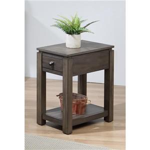 Table d'appoint Shades of Gray de Sunset Trading, 1 tiroir, 14 po x 27 po, gris mat
