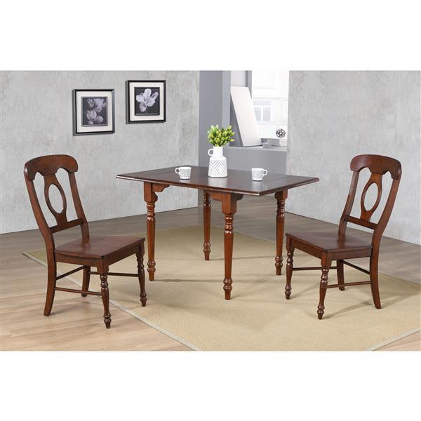 Sunset Trading Andrews Dining Set - Drop Leaf Table - Set of 3 - Dark Chestnut
