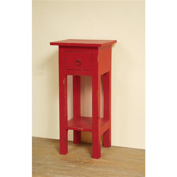 Table d'appoint Shabby Chic Cottage de Sunset Trading, 11,75 po x 25,75 po, rouge antique