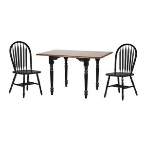 Sunset Trading Black Cherry Selections Drop Leaf Dining Set - Set of 3 - Antique Black