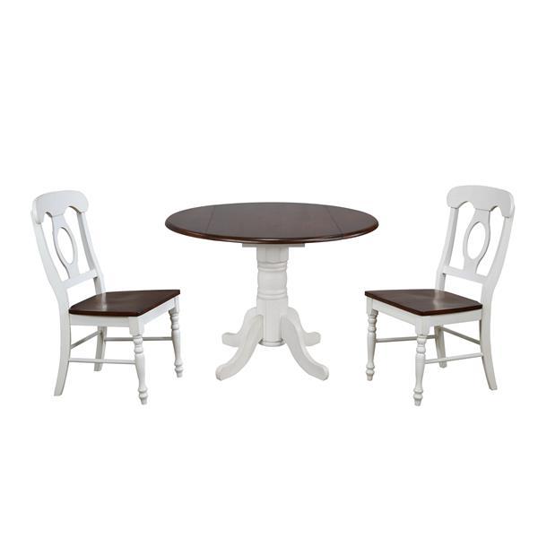 Ensemble de salle à manger Sunset Trading Andrews, 3 pièces, blanc antique