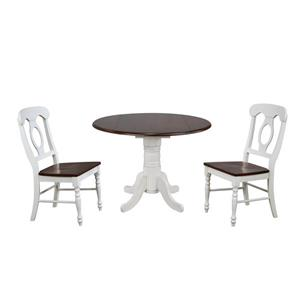 Sunset Trading Andrews Round Dining Set - Set of 3 - Antique White