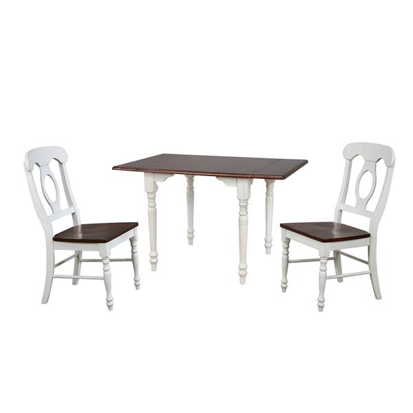 Sunset Trading Andrews Dining Set - Drop Leaf Table - Set of 3 - Antique White