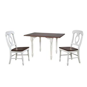 Sunset Trading Andrews Dining Set - Drop Leaf Table - Set of 3 - Antique White