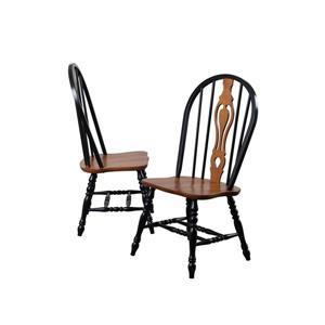 Chaise de salle à manger Black Cherry Selections de Sunset Trading, 41 po x 20.5 po, noir antique/brun, ens. de 2