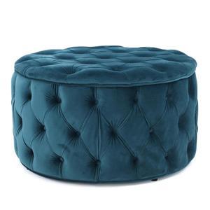 Ottomane ronde en velours Cassie de Best Selling Home Decor, bleu-gris