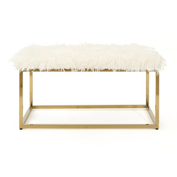 Best Selling Home Decor Molly Faux Fur Ottoman - White