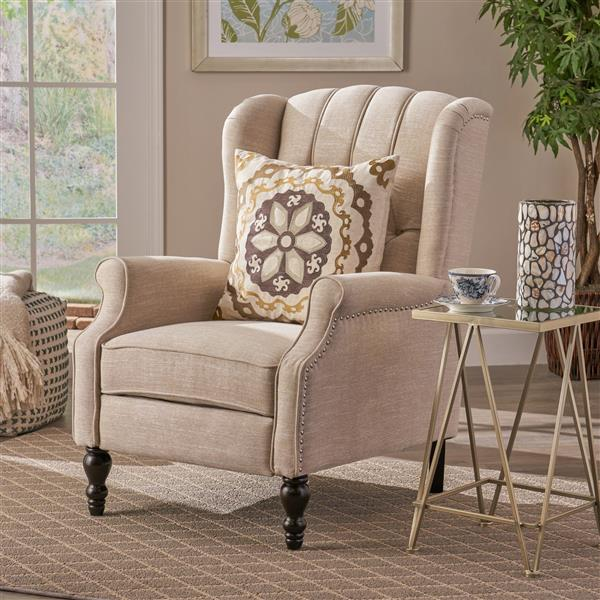 Best Selling Home Decor Estelle Fabric Recliner - Cream
