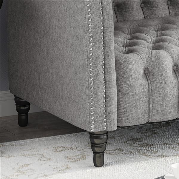 Canapé capitonné en tissu Barneyville de Best Selling Home Decor, gris