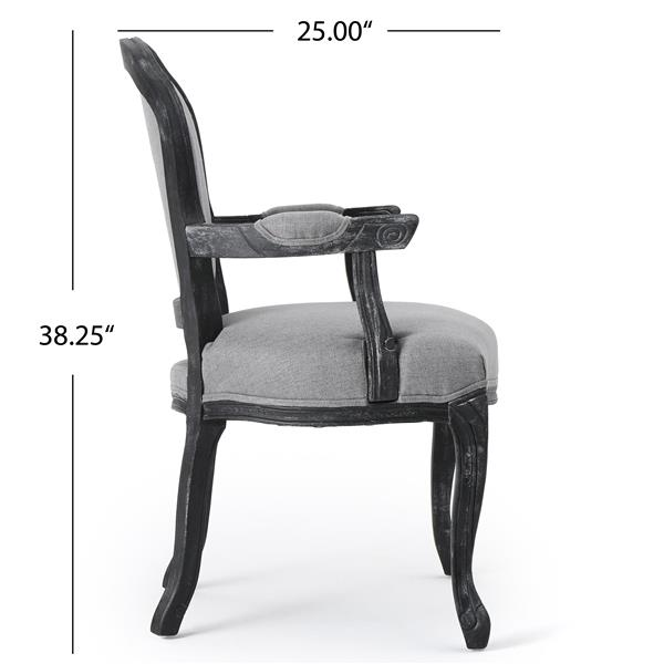 Best Selling Home Decor Trisha Fabric Dining Chair - Black Wood/Gray - Set of 2