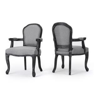 Chaise de salle à manger Trisha de Best Selling Home Decor, tissu gris et bois noir, ens. de 2