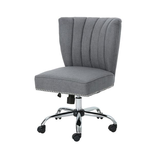 Chaise de bureau contemporaine en tissu Muriel de Best Selling Home Decor, gris