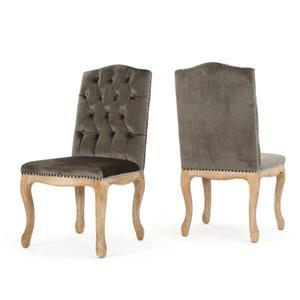 Chaise de salle à manger Bermuda de Best Selling Home Decor, velours gris, ens. de 2
