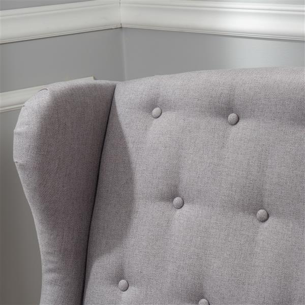 Best Selling Home Decor Bunny Tufted Wingback Loveseat - Fabric - Light Grey