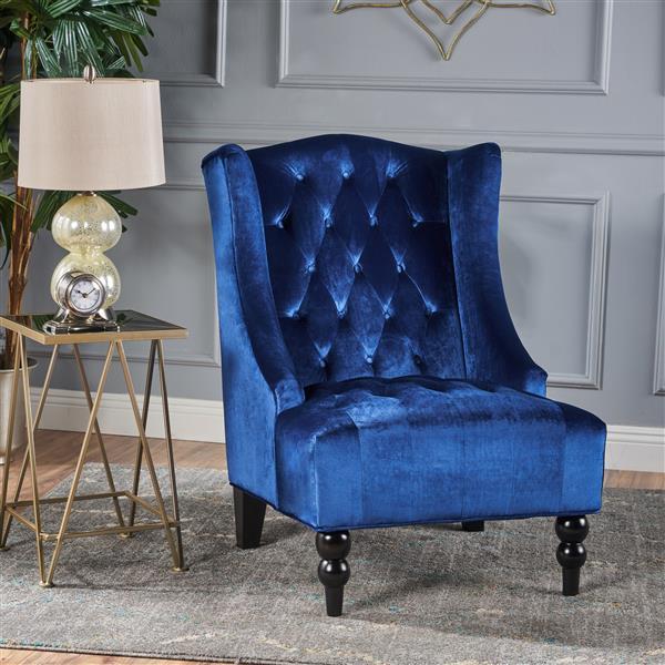 Best Selling Home Decor Elise High Back Fabric Accent Chair - Blue Velvet