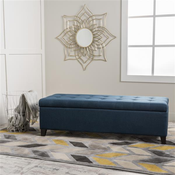 Ottomane en tissu avec rangement Agatha de Best Selling Home Decor, bleu