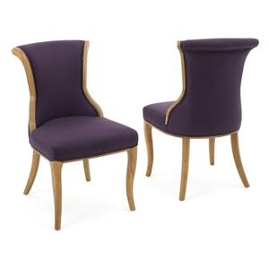 Best Selling Home Decor Lorenzo Fabric Dining Chair - Purple - Set of 2
