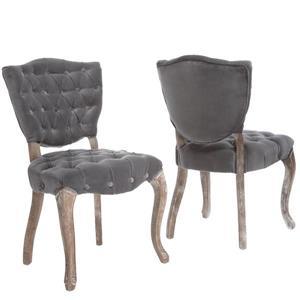 Chaise de salle à manger Michaelson de Best Selling Home Decor, velours gris, ens. de 2