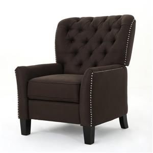 Fauteuil inclinable en tissu capitonné Jasmine de Best Selling Home Decor, marron