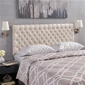 Tête de lit en tissu capitonné Rutherford de Best Selling Home Decor, double ou grand lit, crème