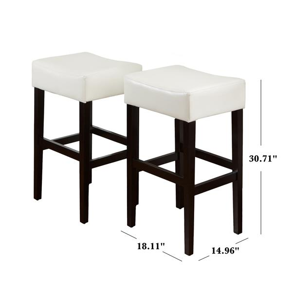 Best Selling Home Decor Fern Leather Backless Bar Stool - White - Set of 2