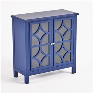 Armoire à double porte en verre Ruby de Best Selling Home Decor, bleu marin