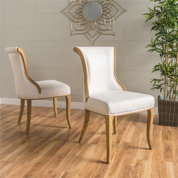 Best Selling Home Decor Lorenzo Fabric Dining Chair - Off-white - Set of 2