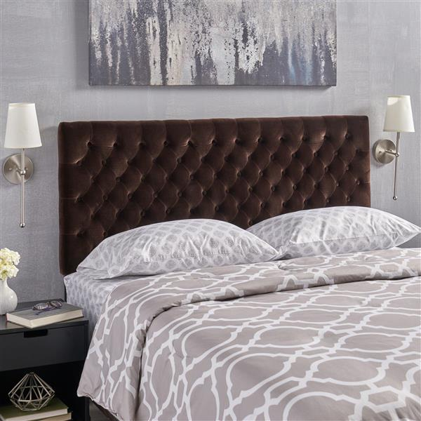 Tête de lit en velours capitonné Rutherford de Best Selling Home Decor, grand lit, marron