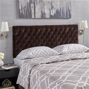 Tête de lit en velours capitonné Rutherford de Best Selling Home Decor, grand lit, marron