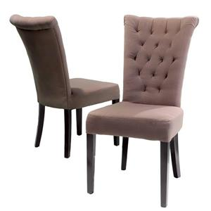Chaise de salle à manger Madera de Best Selling Home Decor, tissu brun, ens. de 2