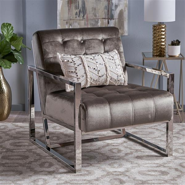 Best Selling Home Decor Bellagio Tufted Accent Chair - Gray Velvet