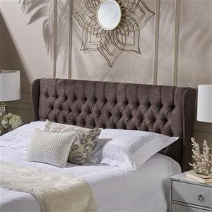 Tête de lit en tissu Johnston de Best Selling Home Decor, très grand lit, marron