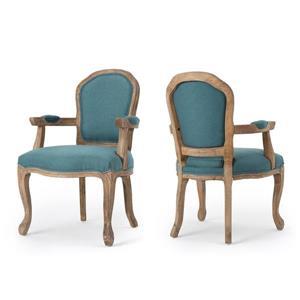 Chaise de salle à manger Trisha de Best Selling Home Decor, tissu turquoise, ens. de 2
