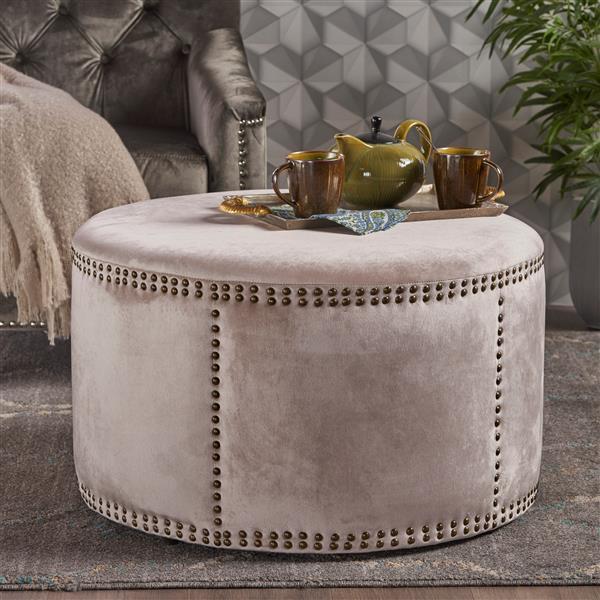Best Selling Home Decor Josh Ottoman - Off-white Velvet