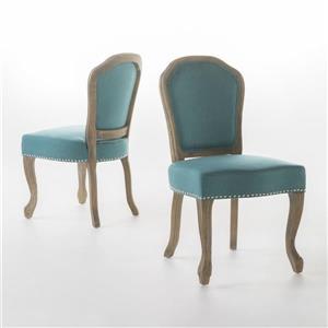 Chaise de salle à manger Burnam de Best Selling Home Decor, tissu turquoise, ens. de 2