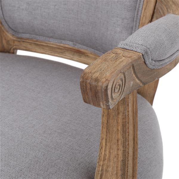 Chaise de salle à manger Trisha de Best Selling Home Decor, tissu gris et bois naturel, ens. de 2