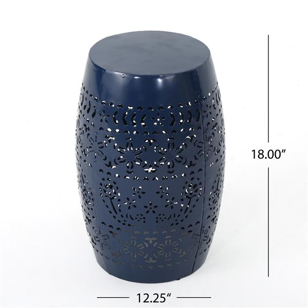 Best Selling Home Decor Teresa Side Table - 12.25-in x 18-in - Dark Blue Iron