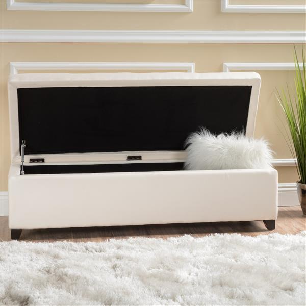Best Selling Home Decor Brenda Fabric Storage Ottoman - Off-white
