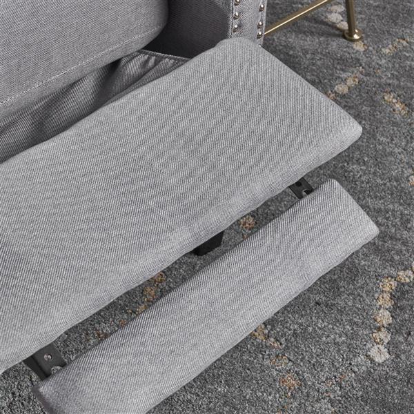 Fauteuil inclinable en tissu capitonné Iris de Best Selling Home Decor, gris