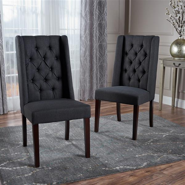 Best Selling Home Decor Pensacola Fabric Dining Chair - Black - Set of 2