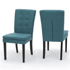 Chaise de salle à manger Norfolk de Best Selling Home Decor, tissu turquoise, ens. de 2