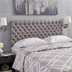 Tête de lit en tissu capitonné Rutherford de Best Selling Home Decor, très grand lit, gris