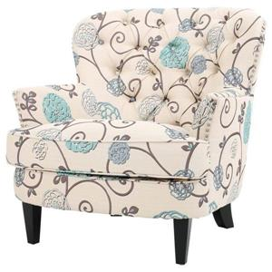 Best Selling Home Decor Tafton Floral Accent Chair - Blue and White