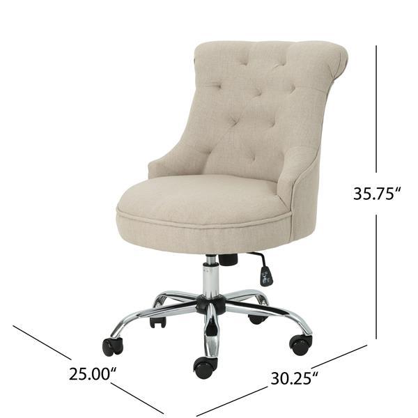 Chaise de bureau en tissu Lilith de Best Selling Home Decor, beige