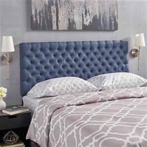 Tête de lit en tissu capitonné Rutherford de Best Selling Home Decor, très grand lit, bleu
