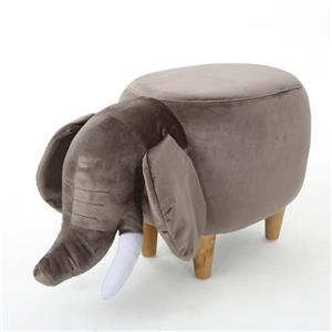 Ottomane en forme d'éléphant en velours Rosa de Best Selling Home Decor, marron