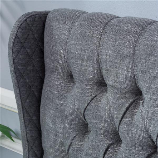 Tête de lit en tissu capitonné Johnston de Best Selling Home Decor, très grand lit, gris