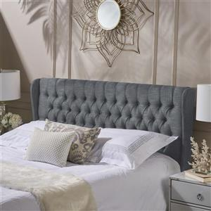 Tête de lit en tissu capitonné Johnston de Best Selling Home Decor, très grand lit, gris