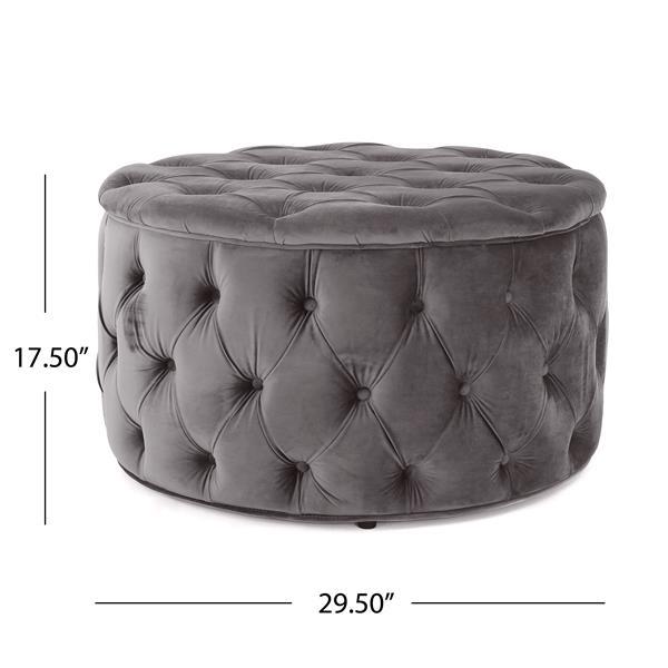 Best Selling Home Decor Cassie Ottoman - Gray Velvet